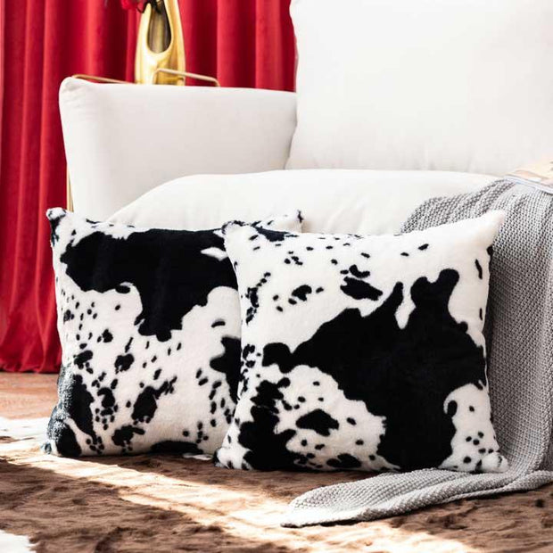 Cow Warm Plush Corduroy Pillowcase without Pillow - Black