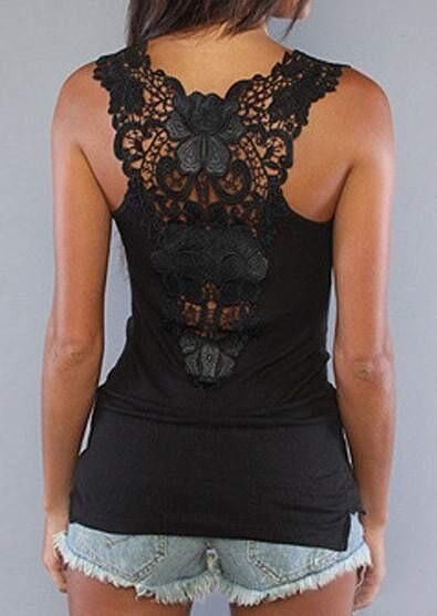 Solid Lace Splicing Sexy Tank