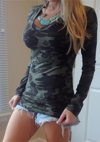 Camouflage Printed Long Sleeve T-Shirt Without Necklace