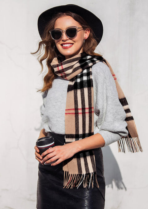Feelily Unisex Plaid Tassel Cashmere Scarf For Christmas Gift