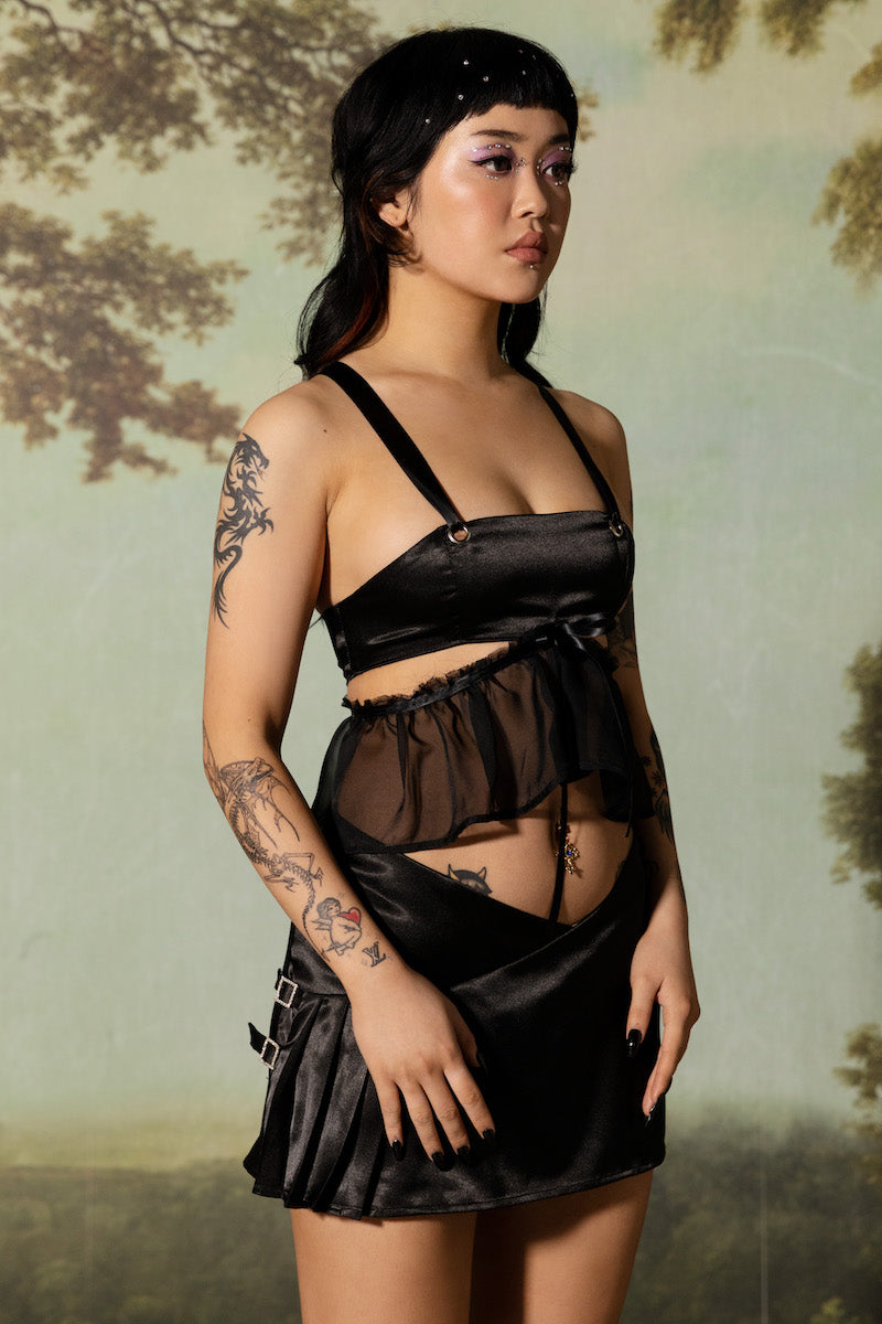 Lilith Frill Bustier - Black