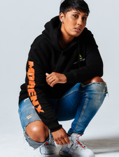 Asia Jackson MORENX x UPRISERS Unisex Black Graphic Hooded Sweatshirt