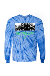 Gidra Blue Tie Dye Graphic Long Sleeve T-Shirt