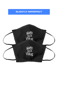 *Imperfect* #HATEISAVIRUS Reusable Canvas Face Mask 2-PACK