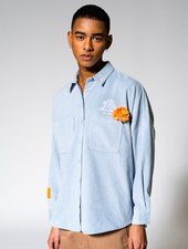 SCFM x UPRISERS Unisex Light Blue Corduroy Button Up Shirt
