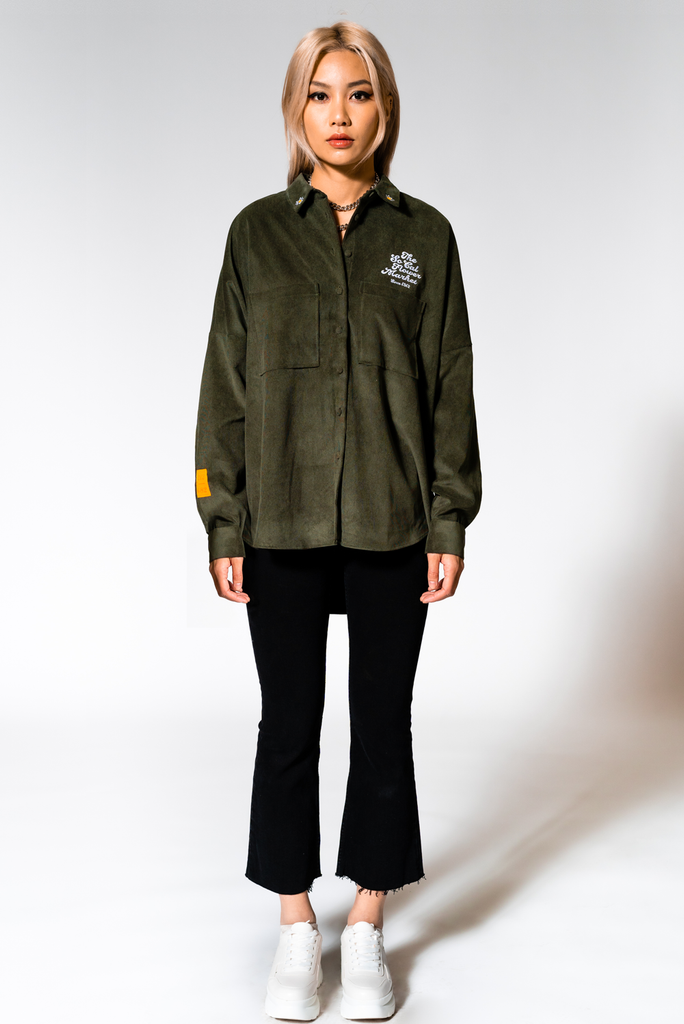SCFM x UPRISERS Unisex Forest Green Corduroy Button Up Shirt