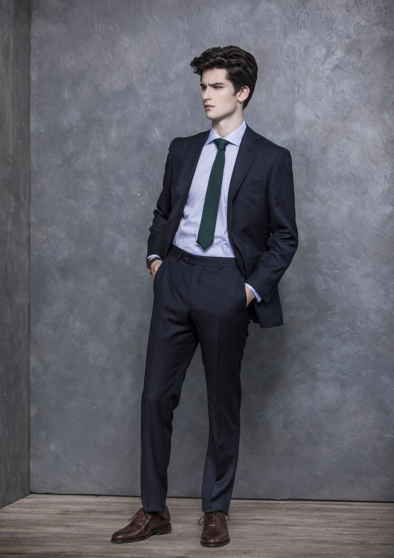 Navy Birdseye Wool Suit