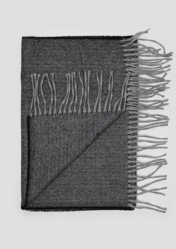 Black & Grey Herringbone Scarf