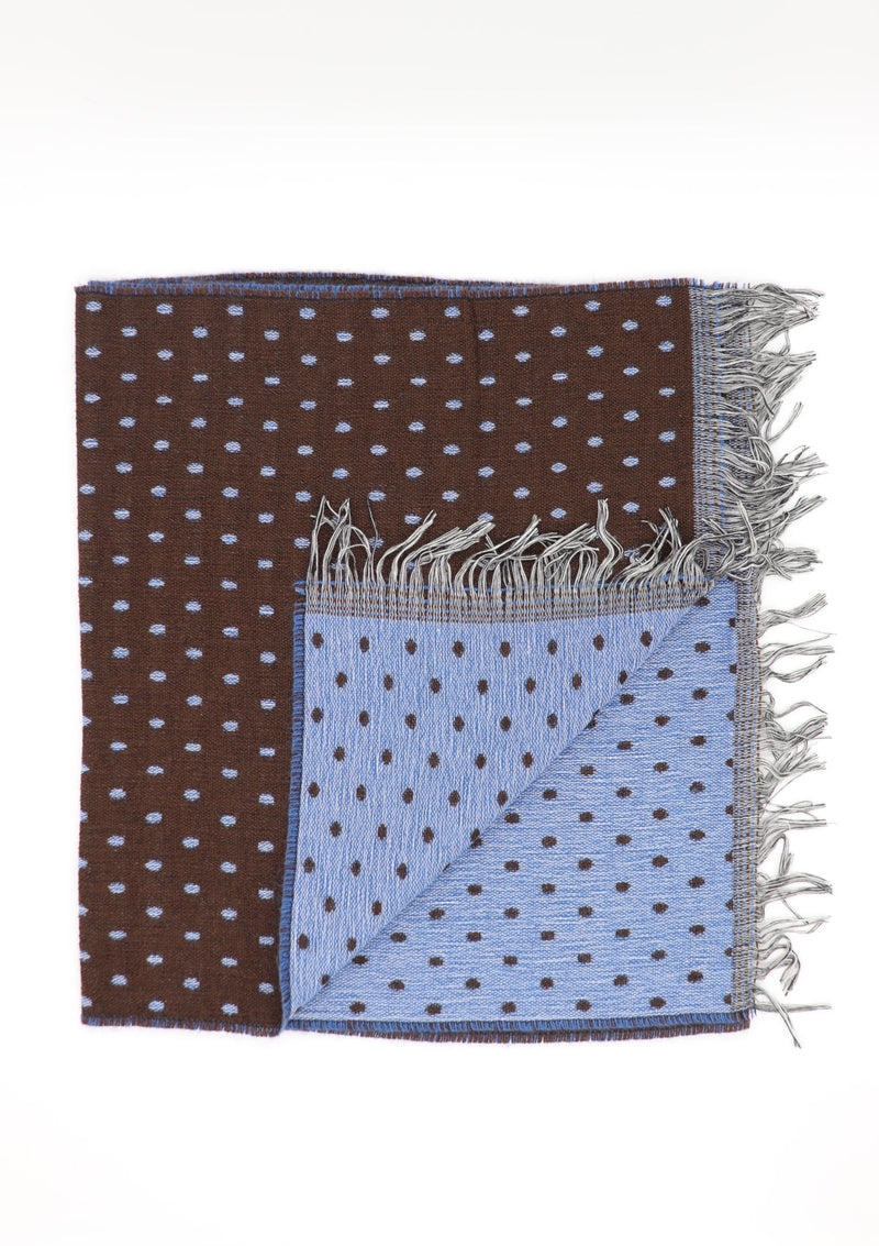 Brown Fringed Polka-Dot Scarf