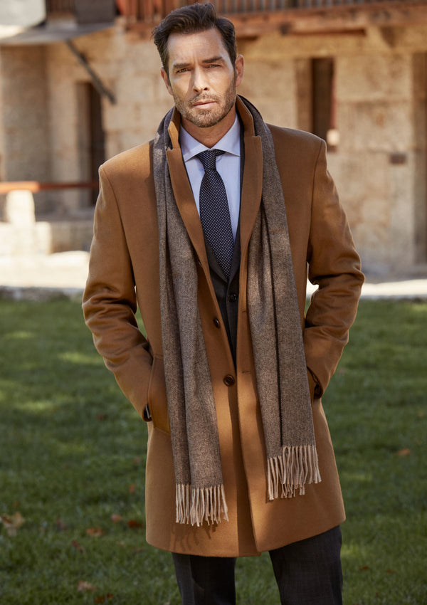 Brown & Camel Herringbone Scarf