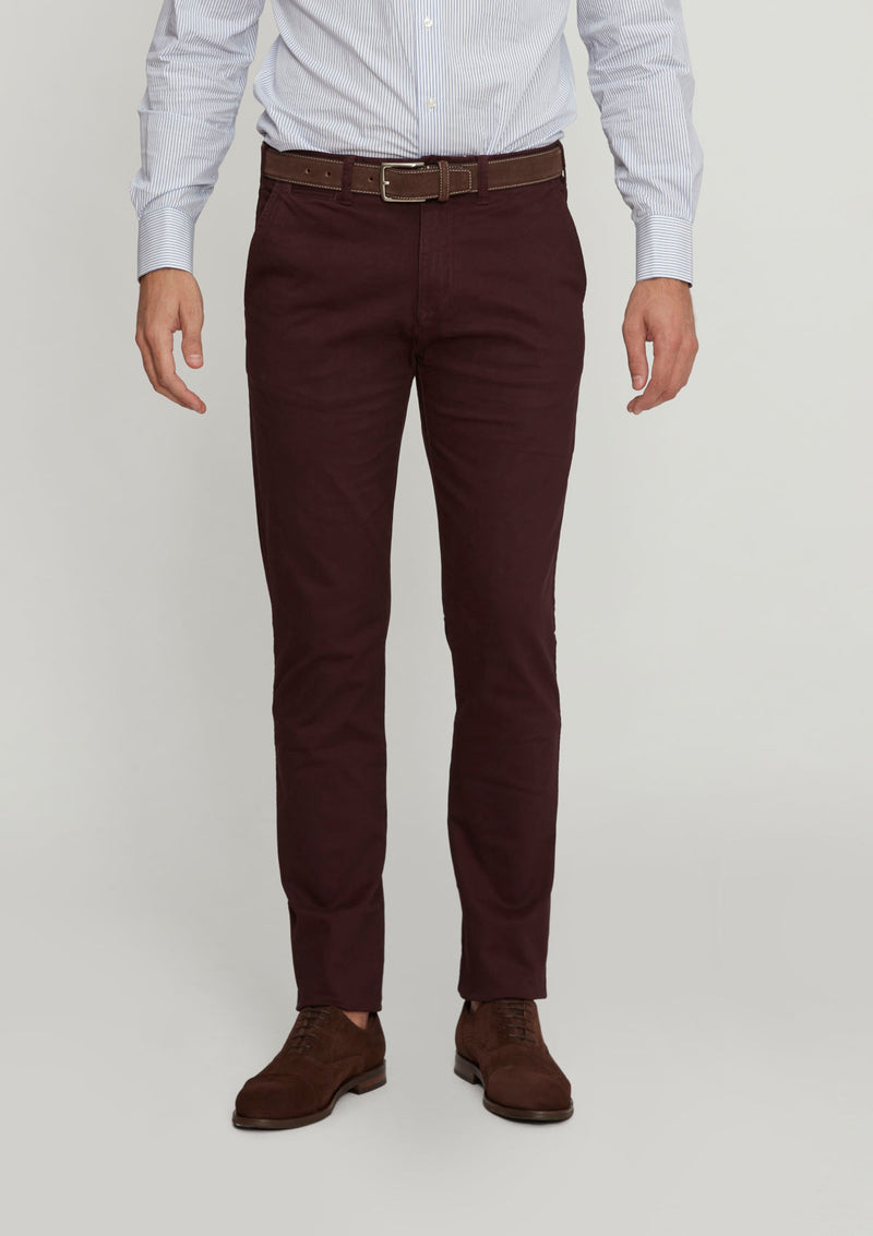 Bordeaux Slim Fit Cotton Chino