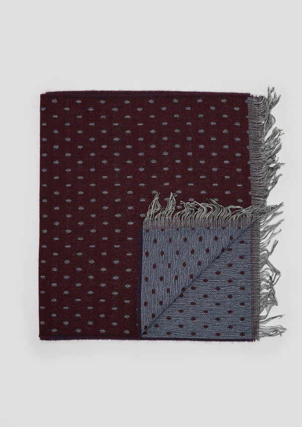 Burgundy Fringed Polka-Dot Scarf