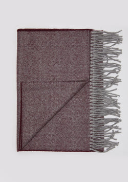 Burgundy & Grey Herringbone Scarf