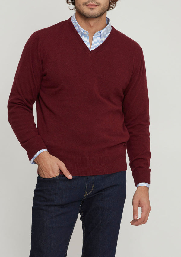 Burgundy Wool & Cashmere V Neck Sweater