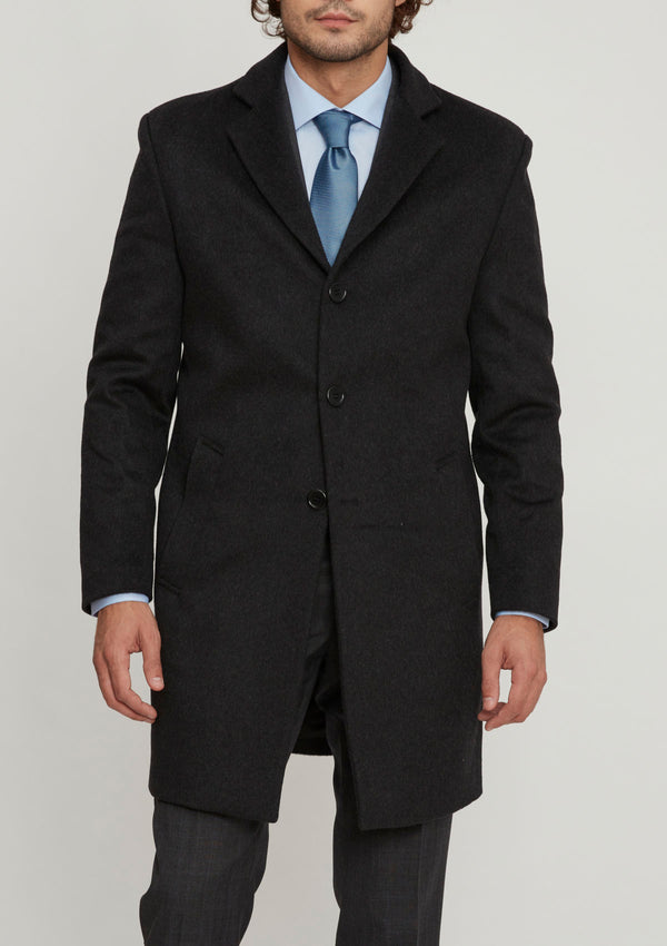 Charcoal Wool & Cashmere Overcoat
