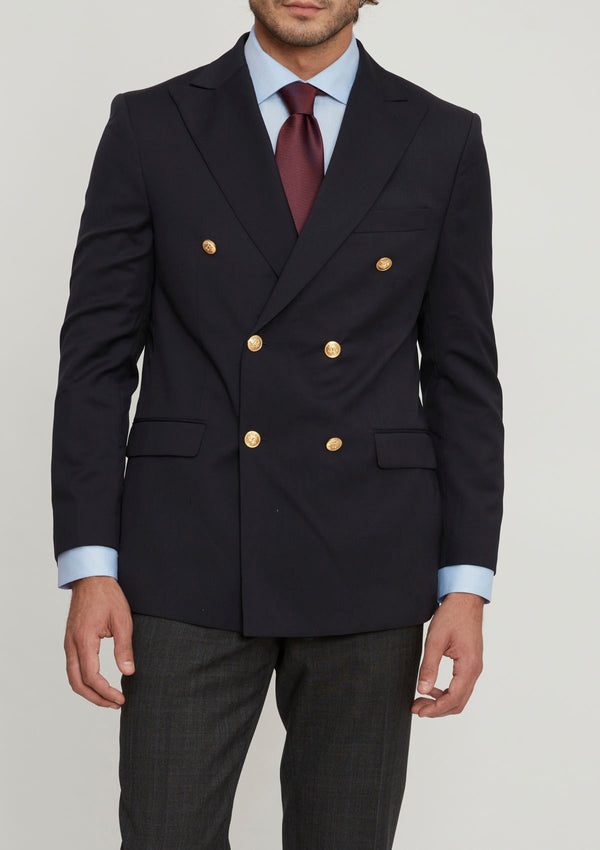 Navy Double Breasted Wool Blazer