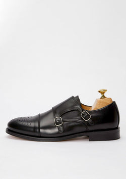 The Double Monkstrap - Black Leather