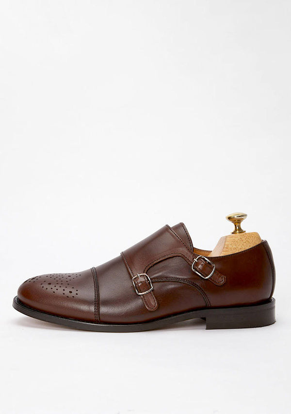 The Double Monkstrap - Brown Leather