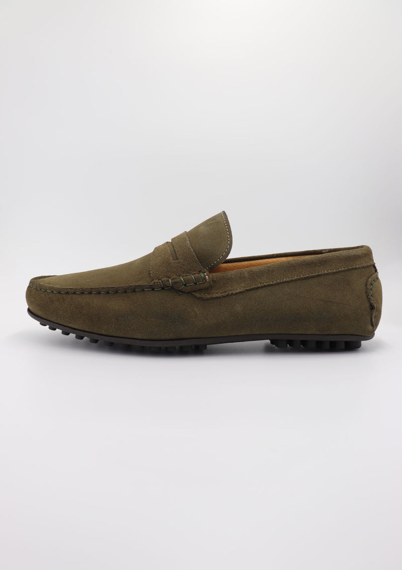 Green Suede Driving Shoes