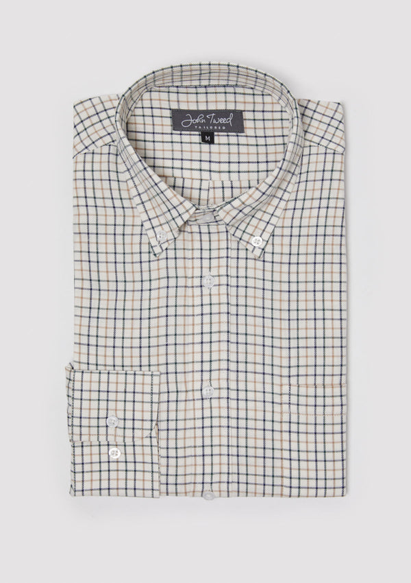 Green & Navy Check Button-Down Shirt