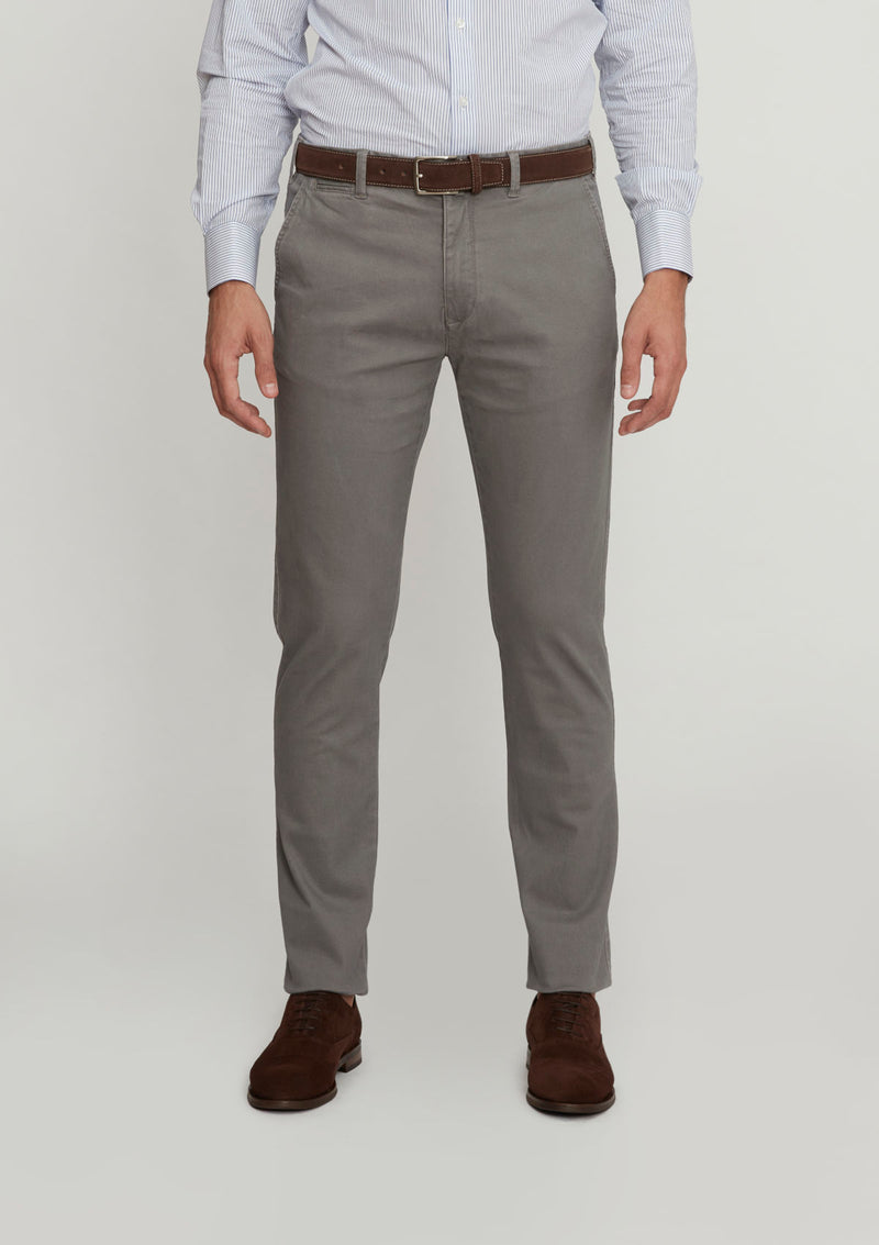 Grey Slim Fit Cotton Chino