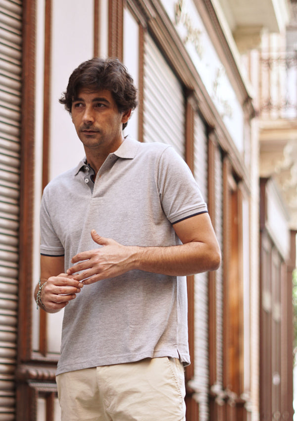 Light Grey Piqué Polo Shirt