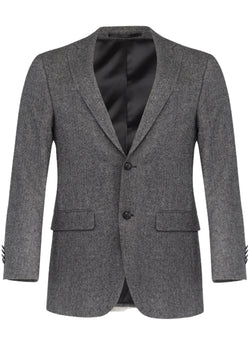 Grey Textured Wool Blazer