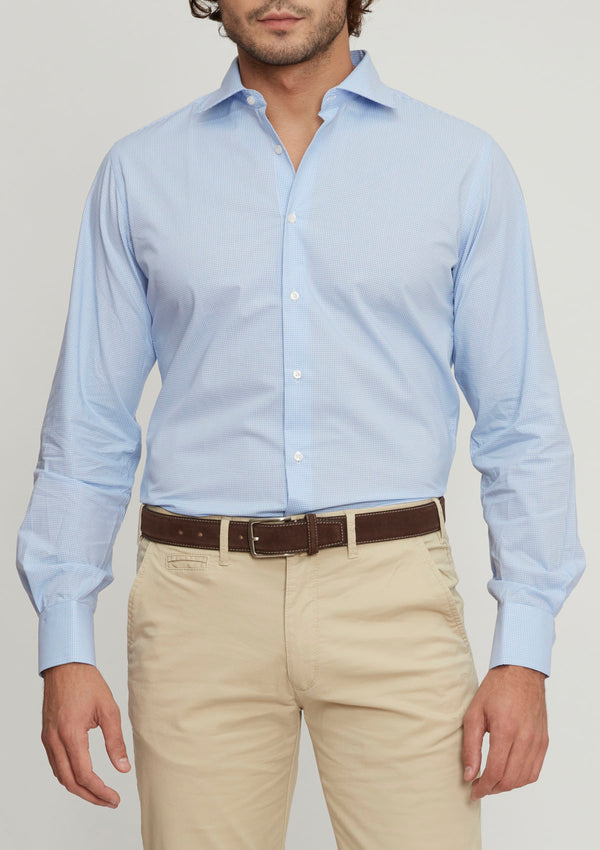 Light Blue Micro-Check Shirt