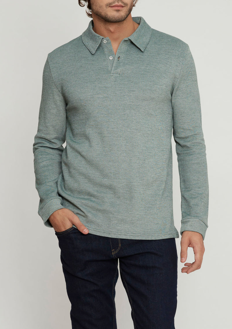 Green Piqué Long Sleeve Polo Shirt