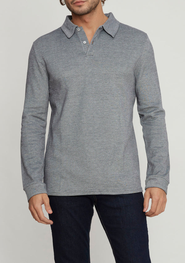 Grey Piqué Long Sleeve Polo Shirt