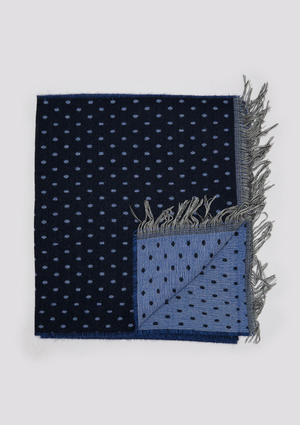 Navy Fringed Polka-Dot Scarf