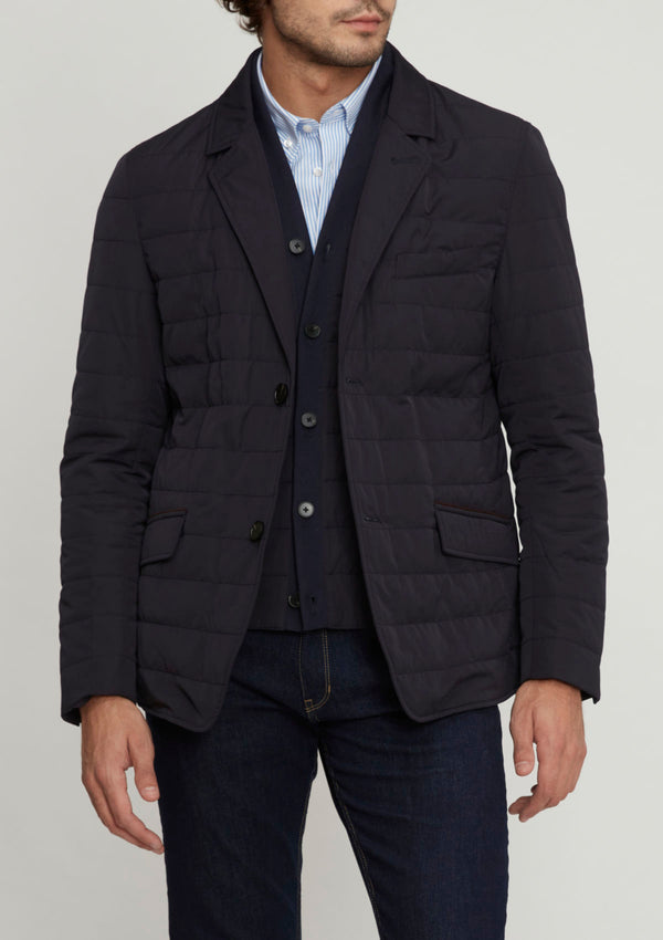 Navy Blazer-Style Quilted Jacket