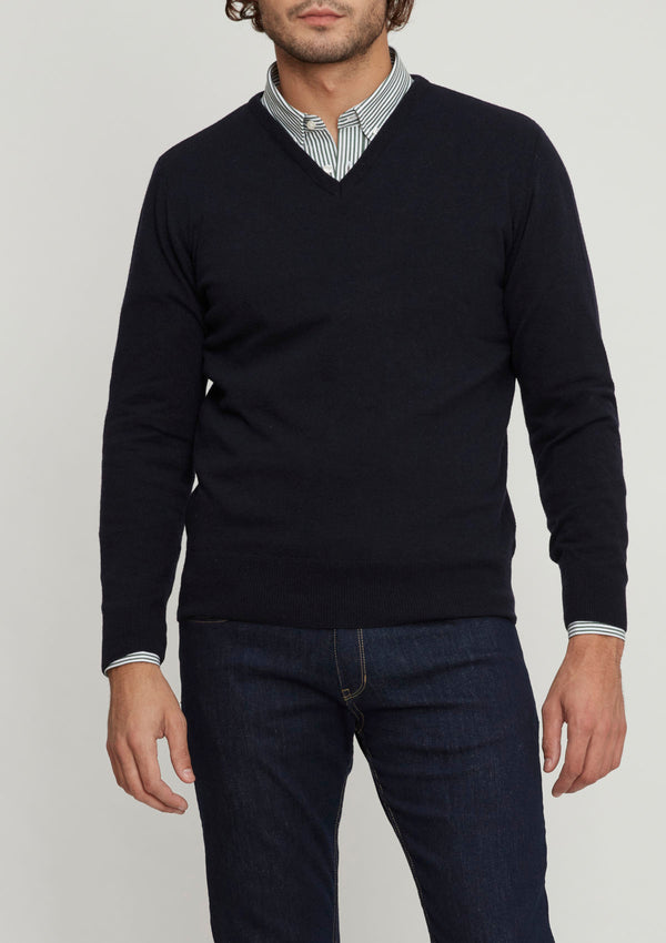 Navy Wool & Cashmere V Neck Sweater