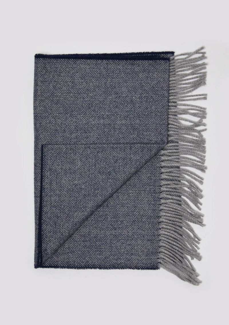 Navy & Grey Herringbone Scarf