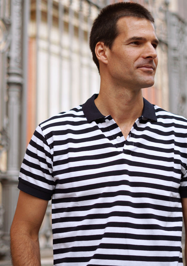 Navy and White Striped Piqué Polo Shirt