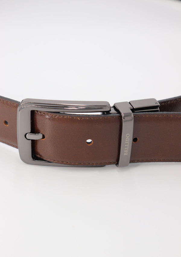 Black/Brown Reversible Leather Formal Belt