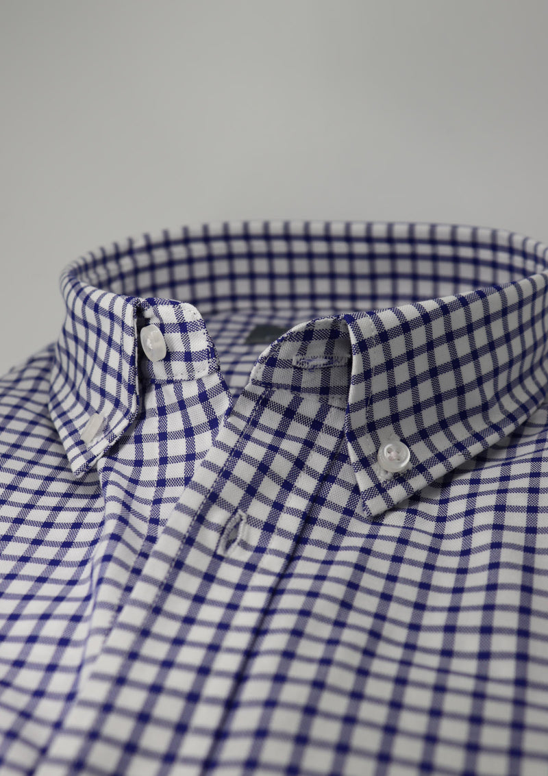 Dark Blue Gingham Check Shirt