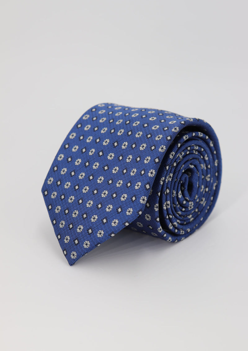 Blue and White Floral Pattern Silk Tie