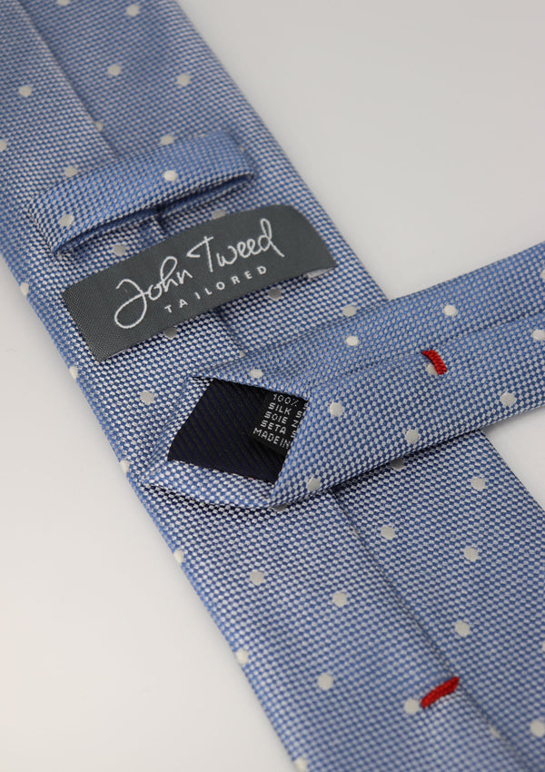 Light Blue and White Polka Dot Silk Tie