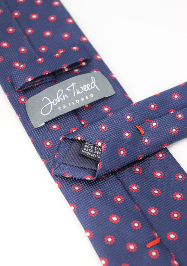 Navy and Red Pattern Silk Tie