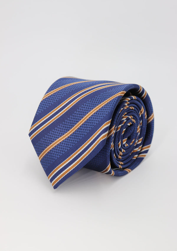 Blue and Mustard Stripe Silk Tie