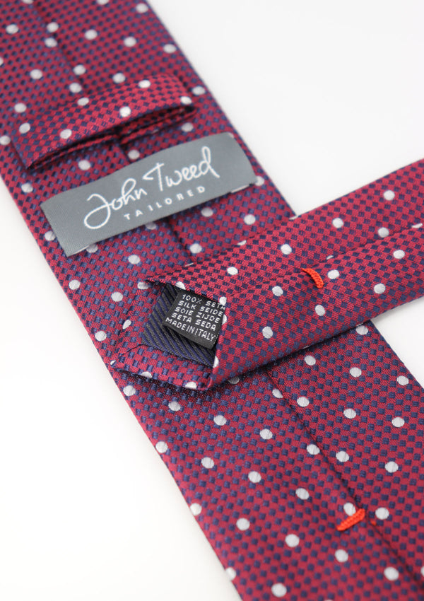 Dark Red and White Polka Dot Silk Tie