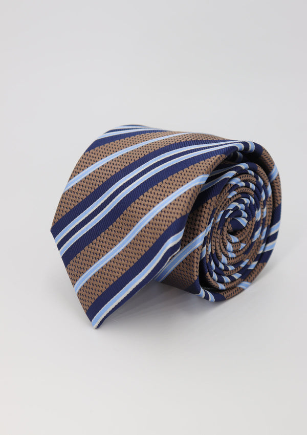 Brown and Blue Stripe Silk Tie