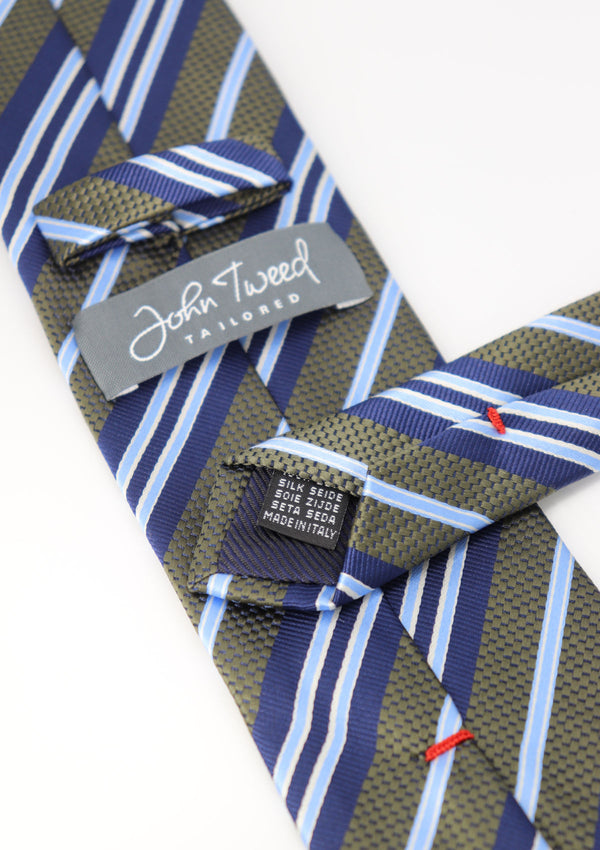 Green and Blue Stripe Silk Tie