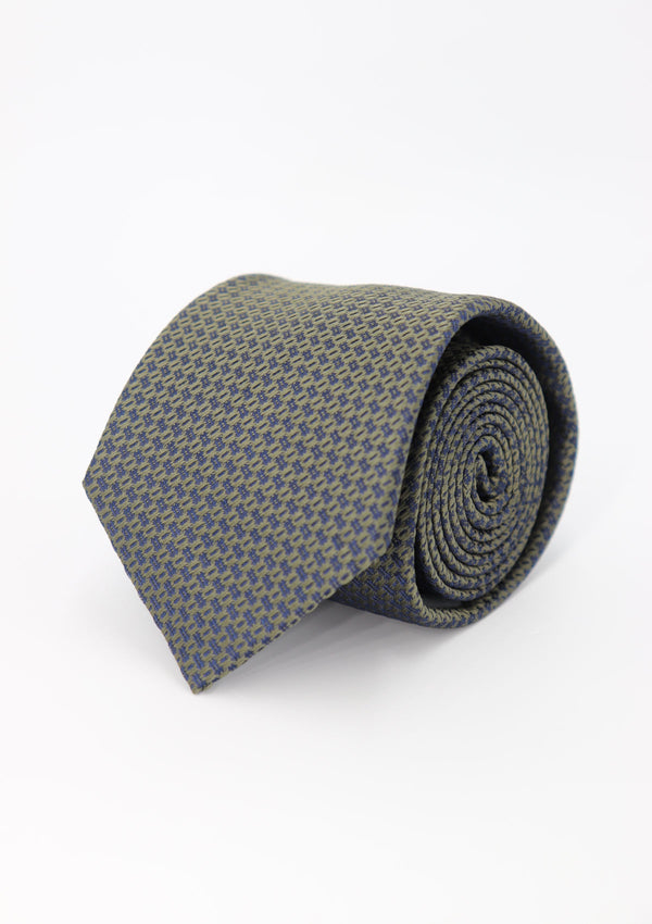 Green and Navy Pattern Silk Tie