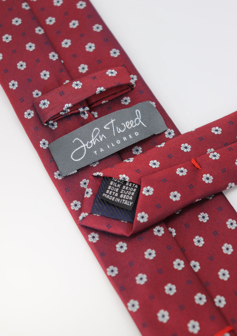 Red and White Floral Pattern Silk Tie