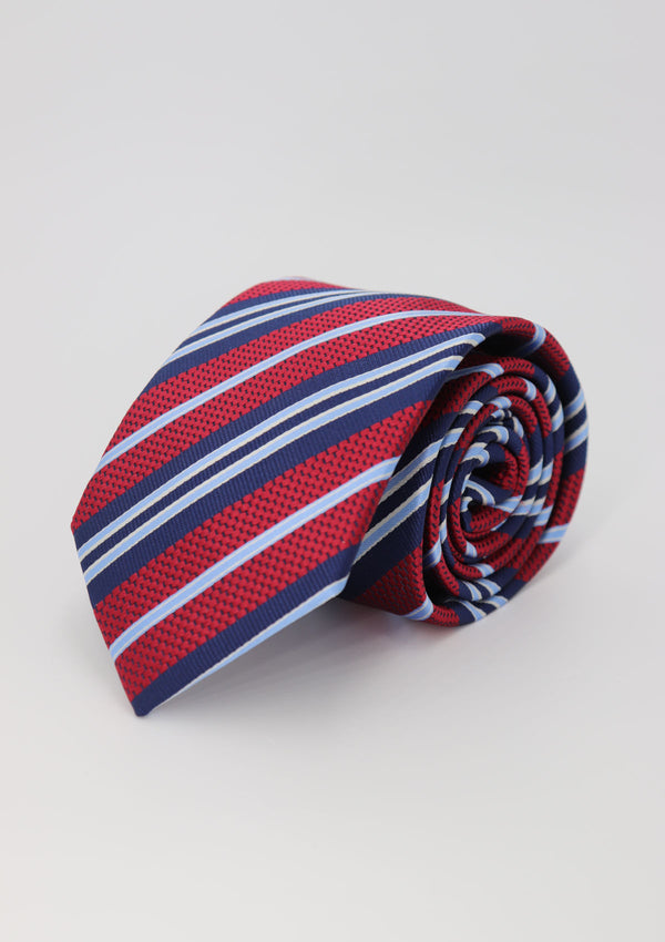 Red and Navy Stripe Silk Tie