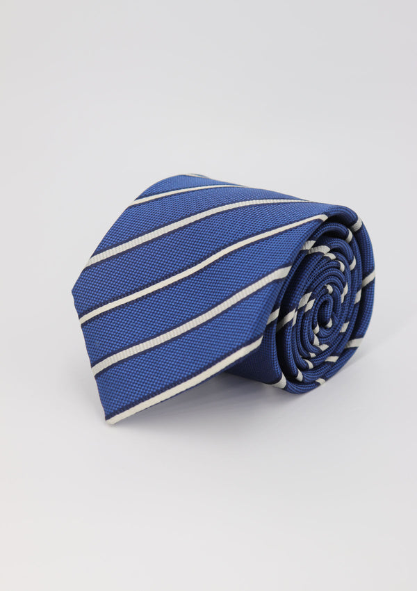 Blue and White Stripe Silk Tie