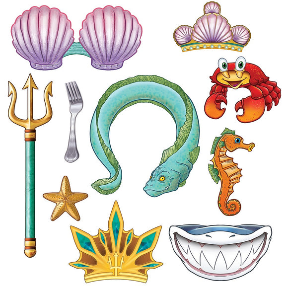 10 Piece Mermaid Photo Fun Signs - Under The Sea Cutout Party Decorations