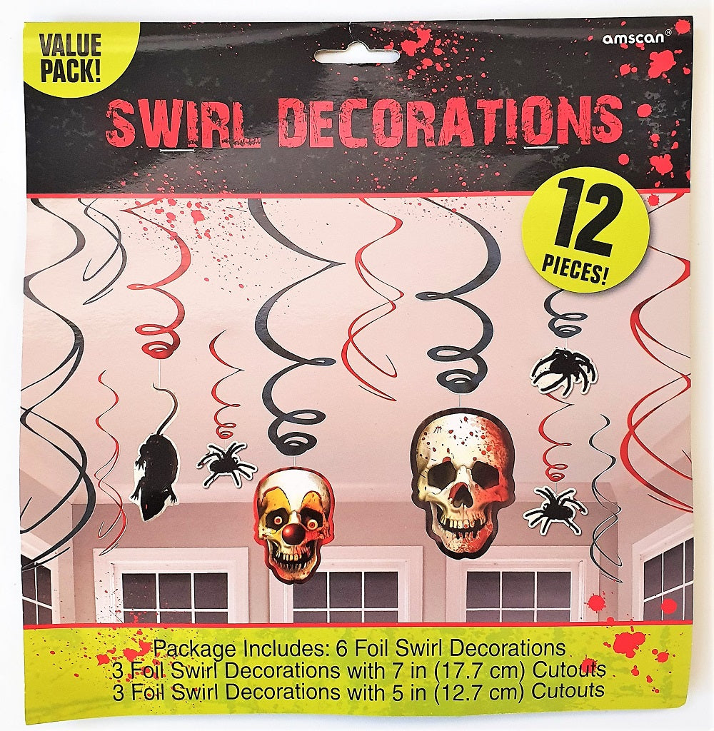Carnival Halloween Party Ideas.12 Piece Creepy Carnival Hanging Swirls Spooky Halloween Party Decorations